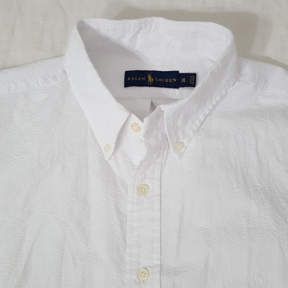 Ralph Lauren White Classic Short Sleeve Seersucker Dress Shirt White Pony NWT